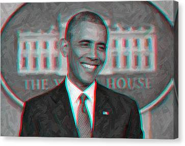 President Barack Obama In 3d Canvas Print by Celestial Images