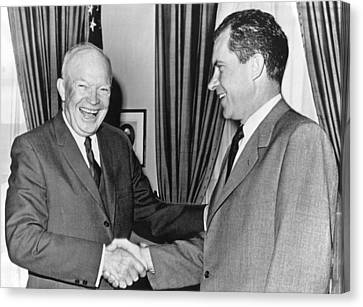 Candidate Canvas Print - President Eisenhower And Nixon by Underwood Archives