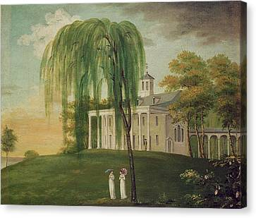 President George Washington 1732-99 On The Porch Of His House At Mount Vernon Oil On Canvas Canvas Print by American School