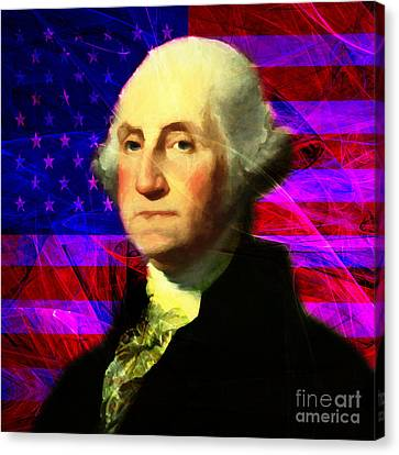President George Washington V2 M123 Square Canvas Print by Wingsdomain Art and Photography