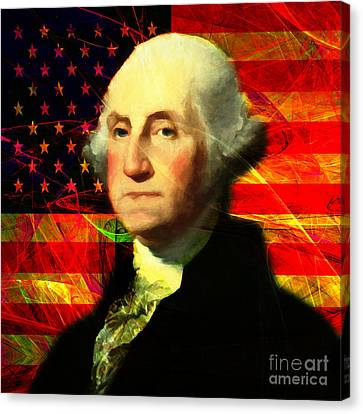 President George Washington V2 M20 Square Canvas Print by Wingsdomain Art and Photography