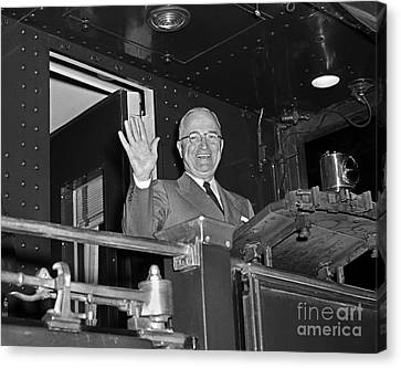 Canvas Print featuring the photograph Harry Truman 1952 by Martin Konopacki Restoration