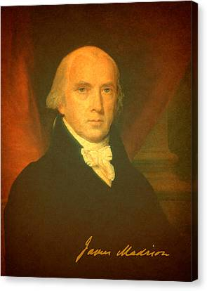 President James Madison Portrait And Signature Canvas Print by Design Turnpike