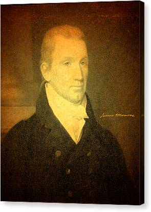 Monroe Canvas Print - President James Monroe Portrait And Signature by Design Turnpike