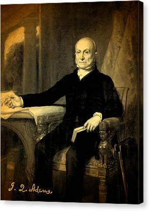 President Adams Canvas Print - President John Quincy Adams Portrait And Signature by Design Turnpike