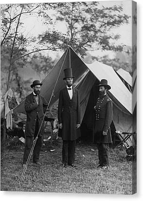 President Lincoln At Antietam Canvas Print by Alexander Gardner