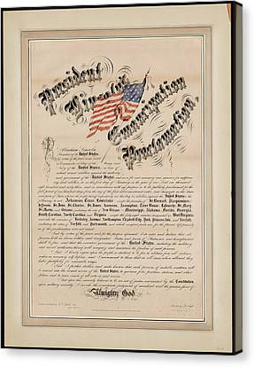 President Lincolns Emancipation Proclamation 2 Canvas Print by MotionAge Designs