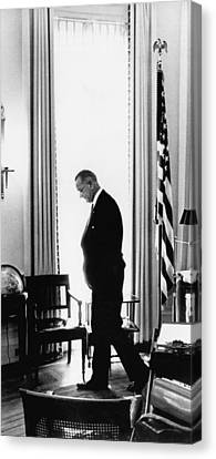 President Lyndon Johnson Paces Canvas Print by Underwood Archives