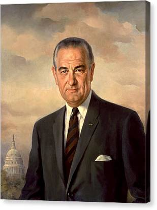 President Lyndon Johnson Painting Canvas Print by War Is Hell Store