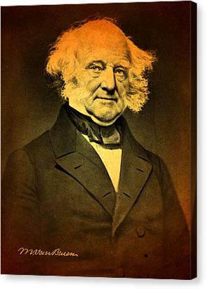 President Martin Van Buren Portrait And Signature Canvas Print by Design Turnpike