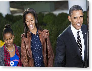 Malia Obama Canvas Print - President Obama And Daughters by JP Tripp