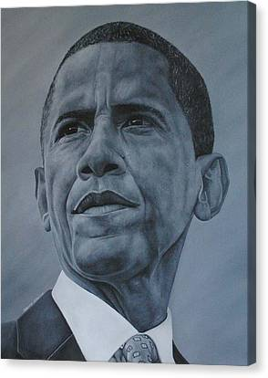 Canvas Print featuring the painting President Obama by David Dunne
