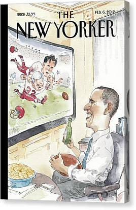 President Obama Watches Football On Tv Canvas Print by Barry Blitt