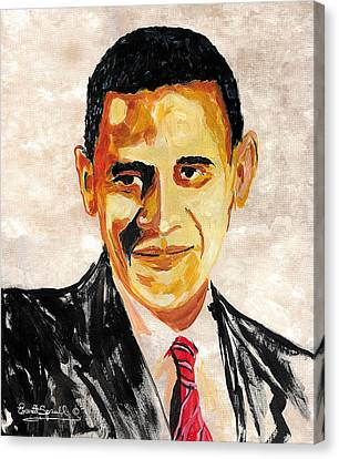 44th President Of The United States Of America - Barack Obama Canvas Print by Everett Spruill