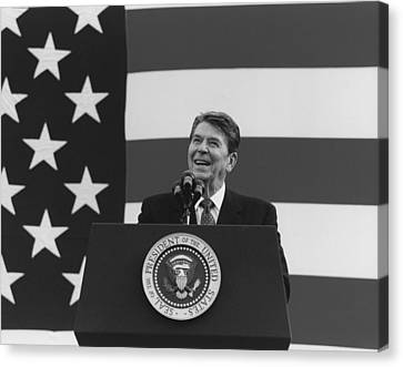 President Reagan American Flag  Canvas Print by War Is Hell Store
