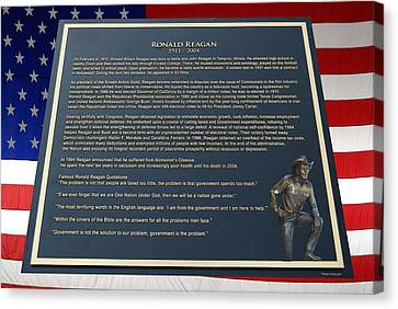 President Ronald Reagan Plaque Canvas Print by Thomas Woolworth