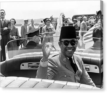 President Sukarno Of Indonesia Canvas Print by Warren Leffler