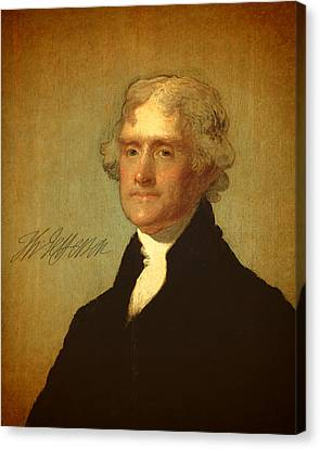 Thomas Jefferson Canvas Print - President Thomas Jefferson Portrait And Signature by Design Turnpike
