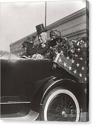 Canvas Print featuring the photograph President Woodrow Wilson 1919 by Martin Konopacki Restoration