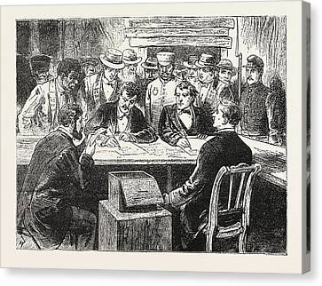 Presidential Election, Counting The Votes, Engraving 1876 Canvas Print by American School