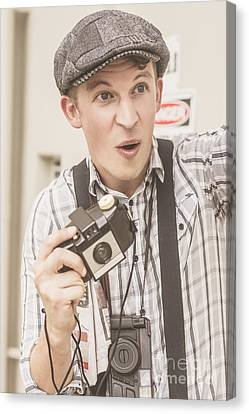 Press Photographer With Great Exposure Canvas Print by Jorgo Photography - Wall Art Gallery
