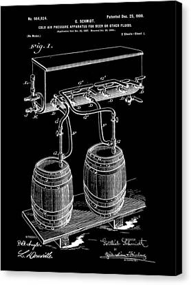 Pressure Apparatus For Beer Patent 1897 - Black Canvas Print by Stephen Younts