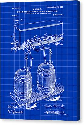 Pressure Apparatus For Beer Patent 1897 - Blue Canvas Print by Stephen Younts