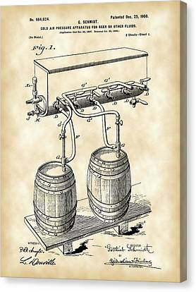 Pressure Apparatus For Beer Patent 1897 - Vintage Canvas Print