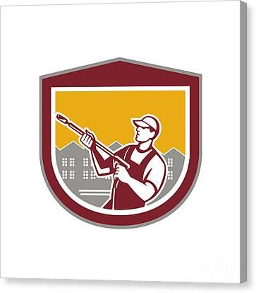 Worker Canvas Print - Pressure Washer Clleaner Worker Retro Shield by Aloysius Patrimonio
