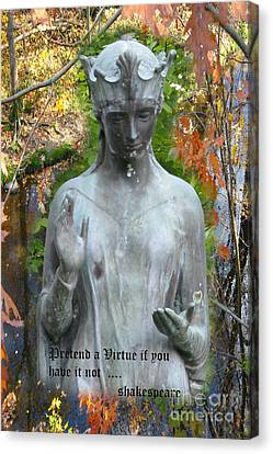 Canvas Print featuring the photograph Pretend A Virtue by Patricia Januszkiewicz