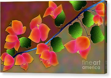 Canvas Print featuring the digital art Pretty Bougainvillea by Latha Gokuldas Panicker