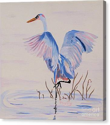 Canvas Print featuring the painting Pretty Crane by Phyllis Kaltenbach