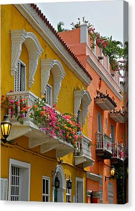 Pretty Dwellings In Old-town Cartagena Canvas Print by Kirsten Giving