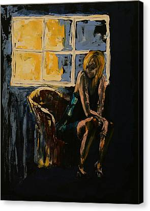 Kathleen Canvas Print - Pretty Girl Sits Alone by Kathy Peltomaa Lewis