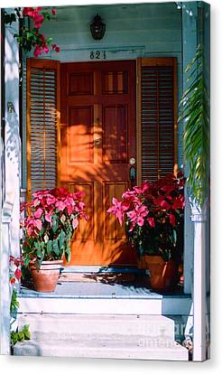 Pretty House Door In Key West Canvas Print by Susanne Van Hulst