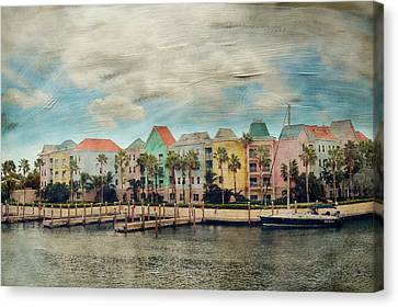 Pretty Houses All In A Row Nassau Canvas Print by Kathy Jennings