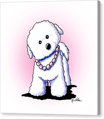 Pretty In Pearls Bichon Frise Canvas Print
