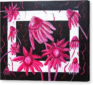 Abstracted Coneflowers Canvas Print - Pretty In Pink 2 by Marita McVeigh