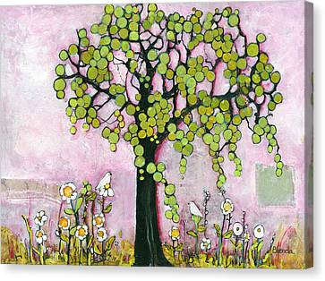 Pretty In Pink Paradise Tree Canvas Print by Blenda Studio
