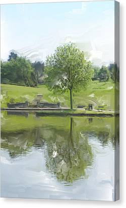 Pretty Tree In Park Picture.  Canvas Print by Christopher Rowlands
