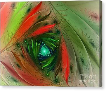 Pretty Wrapped Spiral-fractal Design Canvas Print by Karin Kuhlmann