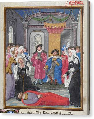 Priam And Court Mourn Hector Canvas Print by British Library