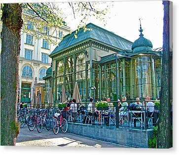 Pricey Restaurant On The Esplanade In Helsinki-finland Canvas Print by Ruth Hager