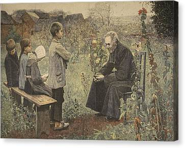 Priest Teaching Children The Catechism Canvas Print by Jules-Alexis Meunier