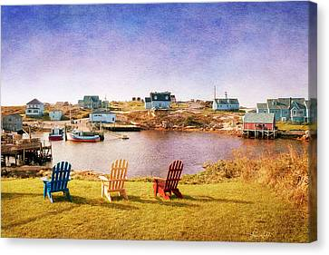 Primary Chairs - Digital Art Canvas Print by Renee Sullivan