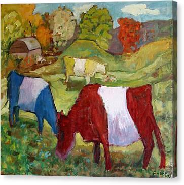 Primary Cows Canvas Print