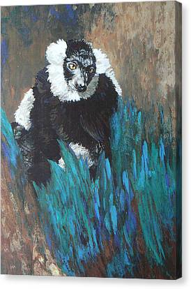 Canvas Print featuring the painting Primate Of The Madagascan Rainforest by Margaret Saheed