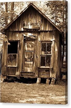 Primative Post Office Cabin In Sepia Canvas Print by Douglas Barnett