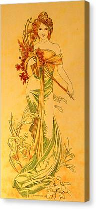 Primavera After Mucha Canvas Print