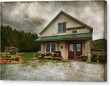 Primitive Country Barn Canvas Print by Deborah Benoit